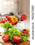 lots of fresh vegetables for... | Shutterstock . vector #98367080