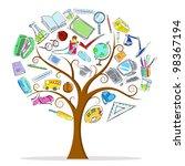 illustration of education object in wisdom tree - stock vector