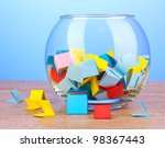 pieces of paper for lottery in... | Shutterstock . vector #98367443