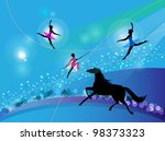 Silhouettes Of Circus Trapeze...