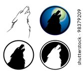 Howling Wolf Symbol   Vector...