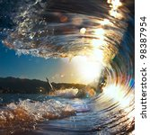 Sunset Sea Curly Breaking Wave...