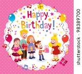 happy birthday card | Shutterstock . vector #98389700