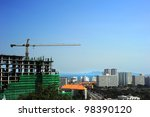 Construction site in Pattaya, Thailand. Aerial view - stock photo