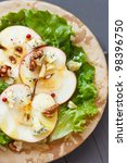 Delicious salad with  blue cheese and fresh apple. - stock photo