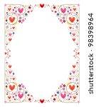 decorative cute hearts frame - stock photo