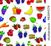 editable vector seamless fruits ... | Shutterstock .eps vector #98399579