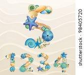 numbers  vector sea life font... | Shutterstock .eps vector #98405720