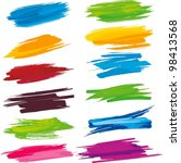 set of colorful brush strokes | Shutterstock .eps vector #98413568