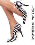 Zebra Print Shoes On Lady...