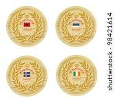 exclusive europe wooden badge... | Shutterstock . vector #98421614