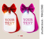 card notes with ribbons. red... | Shutterstock .eps vector #98422580