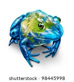 global earth frog with a map of ... | Shutterstock . vector #98445998