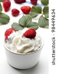 fresh strawberry with whipped... | Shutterstock . vector #98449634