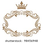 Elegant royal frame with crown isolated on white background. Jpeg version also available in gallery