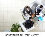 above angle of three associates ... | Shutterstock . vector #98482994