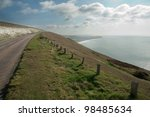 general landscape isle of wight taken in march on a sunny day - stock photo