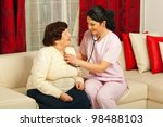 doctor woman examine elderly... | Shutterstock . vector #98488103
