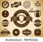 vintage premium quality labels. ... | Shutterstock .eps vector #98493326