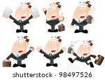 set of cartoon businessmen | Shutterstock .eps vector #98497526