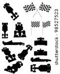 Stock vector racing car silhouette set 98527523