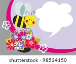 cute card with fun bee. vector... | Shutterstock .eps vector #98534150
