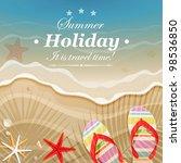 flip flops and shells on the... | Shutterstock .eps vector #98536850