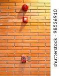fire alarm on brick wall | Shutterstock . vector #98536910