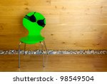 Bra on the chair / wooden wall / modern interior - stock photo