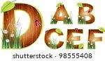 vector wood abc eps 10   Shutterstock .eps vector #98555408