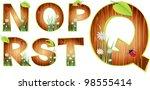 vector wood abc eps 10   Shutterstock .eps vector #98555414