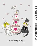 doodle bride and groom with a... | Shutterstock .eps vector #98558366