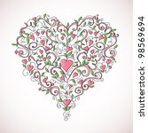 heart shaped ornament | Shutterstock .eps vector #98569694