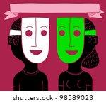 masked couple | Shutterstock .eps vector #98589023