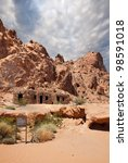 valley of fire  park cabins and sign nevada - stock photo