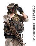 Soldier with binoculars against white background. - stock photo