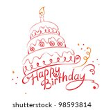 cake ans happy birthday | Shutterstock .eps vector #98593814