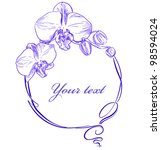 frame with an orchid in a... | Shutterstock .eps vector #98594024