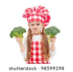 Broccoli again - child with chef hat holding broccoli , isolated - stock photo