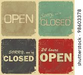 set of signs  open   closed  ...