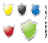 metallic shields colorful set | Shutterstock . vector #98605334