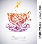 cup of coffee with floral... | Shutterstock .eps vector #98608508