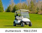 Golf Cart Over Nice Green And...