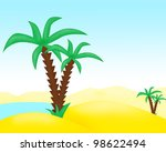 oasis with a palm tree in the... | Shutterstock . vector #98622494