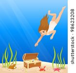 cute girl diving in the sea has ... | Shutterstock .eps vector #98623208