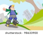 roller skating boy  vector | Shutterstock .eps vector #98633900
