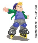 roller skating boy  vector on... | Shutterstock .eps vector #98634800