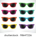 sunglasses set  wayfarer shape... | Shutterstock .eps vector #98647226