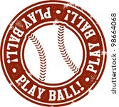 Play Ball Baseball or Softball Stamp