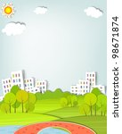flat urban landscape with trees ... | Shutterstock .eps vector #98671874